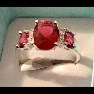 Jewelry - Genuine garnet and topaz ring. Size 9